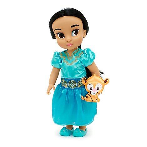 Disney Muñeca de Yasmín de la Colección Animators 39cm con un peluche acolchado de raso de Rajá - Aladdín