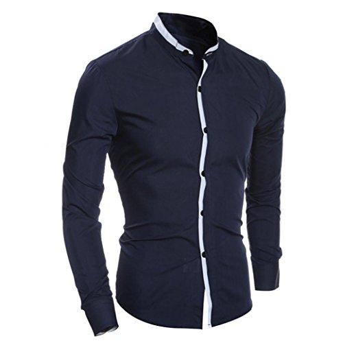 Herren Bluse,feiXIANG Herren Slim fit Langarm Shirt (XL, Navy) Navy