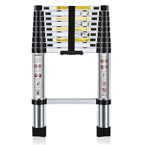 Nestling® Teleskopleiter 2.9M Ausziehbar Haushaltsleiter Teleskopleiter Aluminium Klappleiter Ausziehleiter Mehrzweckleiter Maximale Belastbarkeit 150 kg