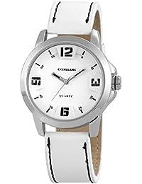 Excellanc 295022000115 - Reloj analógico de cuarzo para hombre, correa de cuero color blanco