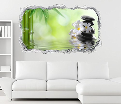 3D Wandtattoo Wellness Ruhe Bambus Zen Steine Wand Aufkleber Durchbruch Stein selbstklebend Wandbild Wandsticker 11N802,...
