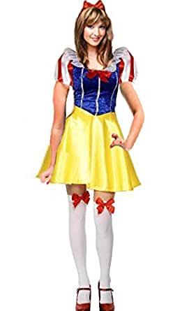 Forever Young Charming Snow White Woman Fancy Dress Costume + Free Stocking (UK Size 6)