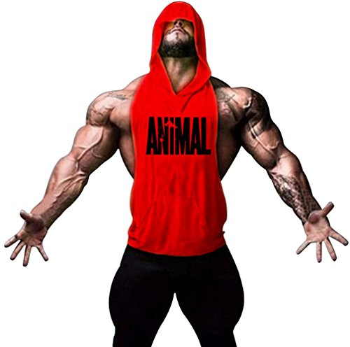 Motivo Gillbro Mens Bodybuilding Stringer con cappuccio palestra Tank Top con cappuccio Gilet animale, A, M
