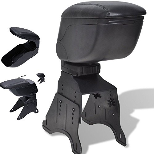 DOBO Bracciolo universale poggia braccio portaoggetti per automobili - Nero simil Pelle