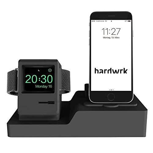 hardwrk Charging Stand - kompatibel mit Apple Watch, iPhone & AirPods - schwarz - 3 in 1 Ladestation im Classic Mac Design - Silikon schwarz