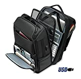 Mochila Hombre,Popoti Nylon Backpack Mochila de Laptop Escolar Mochilas Grand Daypack Impermeable Adolescente para Excursionismo al Aire Libre Viaje de Camping (Negro, 17 Inch,with USB Port)