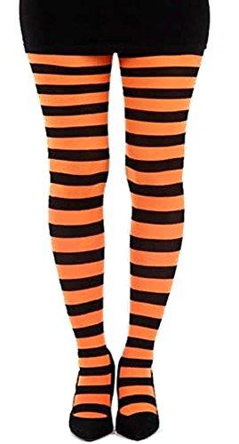 Breite Streifen Strumpfhose - Leuchtendes Orange (Der Orange Strumpfhosen Streifen)