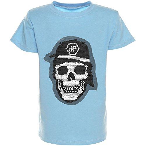 BEZLIT Jungen Wende-Pallietten T-Shirt Kurzarm Polo-Shirt Bluse 21316, Farbe:Blau;Größe:104 (Jungen Für Shirt Kleid)