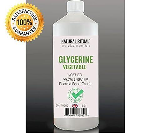 [NEW] 1 Litre VG Vegetable Glycerine (Glycerol) Pure EP Certified / Kosher Approved - Food Pharma Grade - [Generous Bottle 1 Litre]