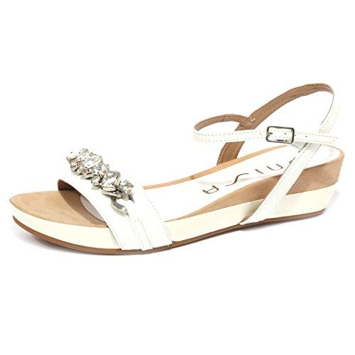 B1162 sandalo donna UNISA BIBA PATENT scarpa swarovski bianco shoe woman Bianco