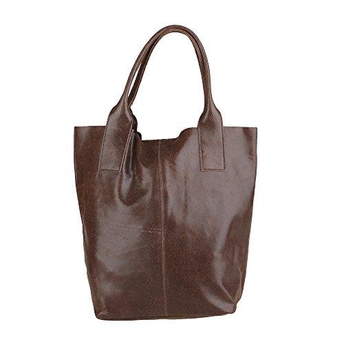 Chicca Borse Frau Handtasche Shopper in echtem Leder Made in Italy 39x36x20 Cm Braun
