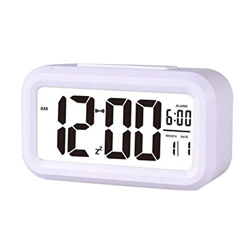 Stonges Led luminoso despertador silencioso gran pantalla digital reloj inteligente con temperatura (Blanco)
