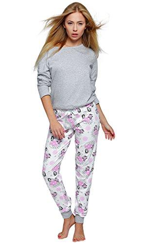 Sensis stillvoller Baumwoll-Pyjama Schlafanzug Hausanzug aus feinem T-Schirt und bequemer Hose, Made in EU (L (40), Happy Winter)