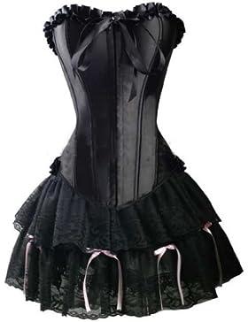impresionantes señoras corsé negro vestido (vestido bustier + Cordet gótico), la cintura 34,36,38,40,42,44,46,48...