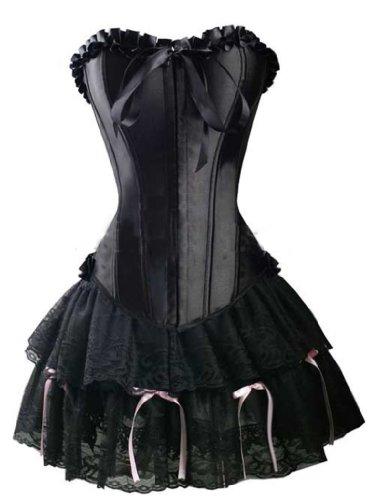 sante Schwarzes Kleid Korsett (vollbusigere GOTIK Korsett + Rock), Größe-3XL-44 ()
