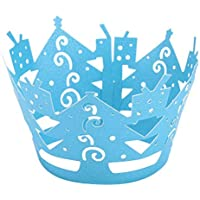HEALIFTY 50 unids Cupcake Wrappers Artistic Bake Cake Tazas de papel Corte por láser para la fiesta de bodas Decoración de cumpleaños Día de Navidad (Azul)