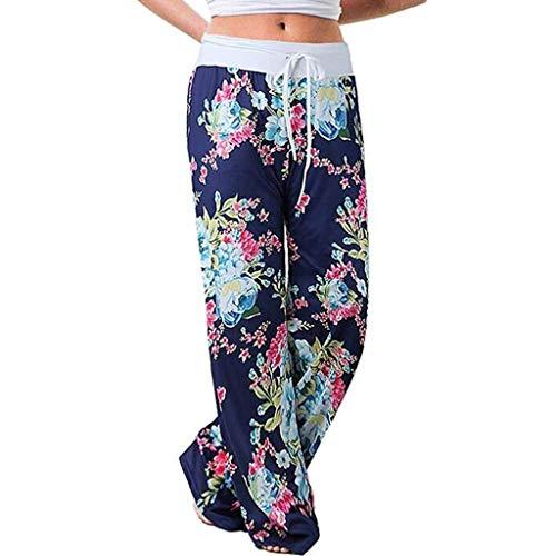 ZHANSANFM Damen Haremshose Blumenmuster Drucken Elastische Taille Pumphose Weich Bequem Loose Sommerhose Strandhose Freizeit Jogging Yogahose Laufhose Fitnesshose mit Gürtel (XL, Blau-1)