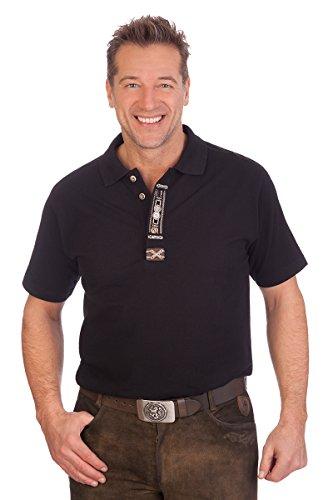 orbis Textil Trachten Herren Poloshirt - OLAF - schwarz, Größe XL