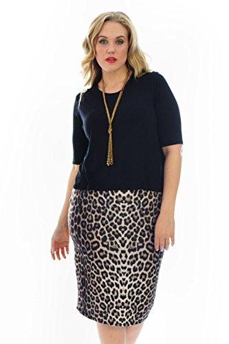 Neue Damen Übergrößen Kleid Frauen 2 In 1 Leopard Druck Elegant Kurzarm Womens Plus Size Dress Animal Print Skirt Style Sale Nouvelle Collection 2102 (Braun, Größe 46) (Animal-print Plus Size)
