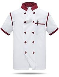 Cocina Uniforme Camisa de Cocinero Manga Corta La red de espalda y axila