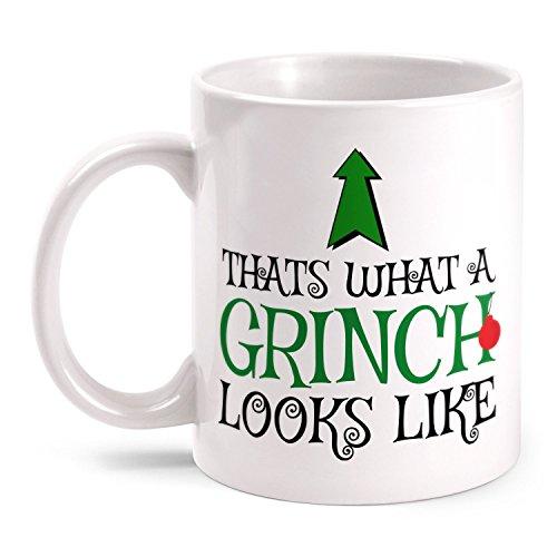 Fashionalarm Tasse Thats What A Grinch Looks Like beidseitig bedruckt mit lustigem Spruch | Geschenk Idee zu Weihnachten für Weihnachtsmuffel, Farbe:weiß