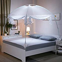GLITZFAS Mosquito Net Automatic Bed Canopy Pop Up Mobile Insect Screen Foldable Double Window Screens Door Anti Mosquito Bites (White)