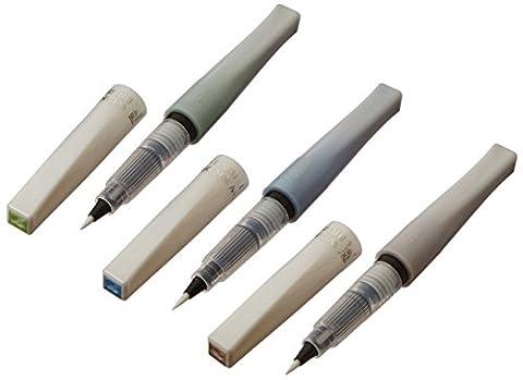 Kuretake Zig Memory System Wink of Stella Brush Glitter Markers, Landscape, Green, Blue, Brown, 3-Pack,