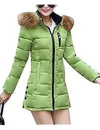 HaiDean Giacca Trapuntata Donna Autunno Invernali Incappucciato Piumino  Vintage Semplice Glamorous con Cerniera Outerwear Tasche Laterali 827f7475242