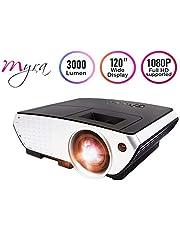 Myra Q6 LED Projector 3000 Lumens 3D Projector Home Theater Projector LCD Video Set-top Box HDMI VGA USB (Basic)