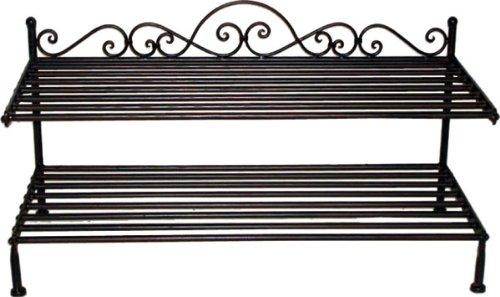- Schuhregal Schuhablage, Metall / Eisen antik dunkelbraun, Landhaus, B 70,5 x H 37,5 x T 35 cm