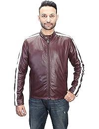 Bareskin men's wine leather 'café racer' slim fit jacket