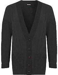 WEARALL Femmes Plus Câble Tricoter Cardigan Dames Bouton Poche Loungeue Manche Haut - 44-50