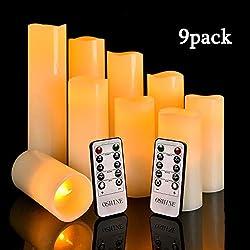 """OSHINE Flickering Flameless Bougies, LED Bougies Φ 2.2.CM x (H""""4""""5""""6""""7""""8""""9) Set de 9 pilules de cire réelles non en plastique avec minuterie de commande(9, Ivoire)"""
