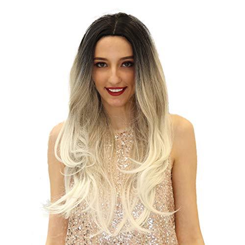 Losping Mode frauen synthetische perücken farbverlauf multicolor lange cosplay hitzebeständige haar ersatz 26 zoll mit perücke kappe -