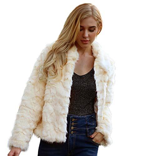 Yazidan Damen Oberbekleidung Warm Künstlich Wollmantel Jacke Winter Parka Sexy Strickjacke Dicker Sweatshirt Pure Farbe Kimono Solide Sweatshirt Formal Mantel Slim Fit Jacke(Beige,3XL) -