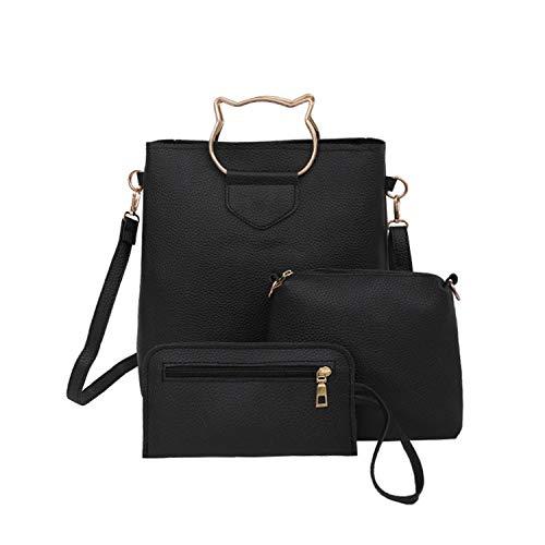 XIAOZHOU Set di 3 borse a tracolla da donna, in pelle sintetica, stile casual, Grigio (grigio), Taglia unica
