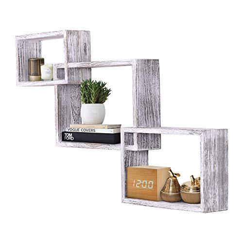 Comfify Rustikales, quadratisches Schweberegal im Vintage Design - 3er-Set - Schrauben und Dübel inklusive - Landhaus Holzregale für Schlafzimmer, Wohnzimmer und mehr - Rustikales Design - Weiß