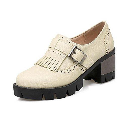 DamenschuheRetro- niedrige Ferse-flache Gürtelschnalle-Quasten-gehende Gericht-Schuhe , beige , 40 (Niedrigen Keil-flach Ferse)