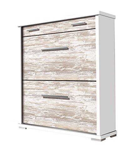 OVERHOME365 2219 B/V - Zapatero, madera, color blanco y vintage, 78x26x92.5 cm