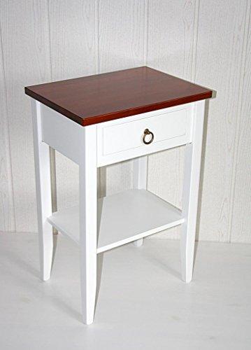 Casa Massivholz Pappel Nachttisch zweifarbig weiß kirschbaumfarben Komforthöhe Beistelltisch