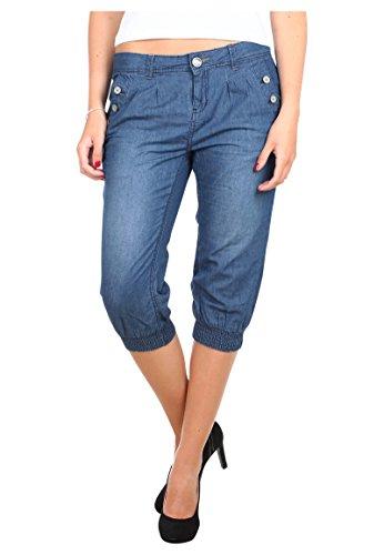 Stitch Denim Kurze (Stitch & Soul Damen Caprihose aus hochwertigem Denim | Kurze Hose | Jeans-Shorts knielang middle blue L)