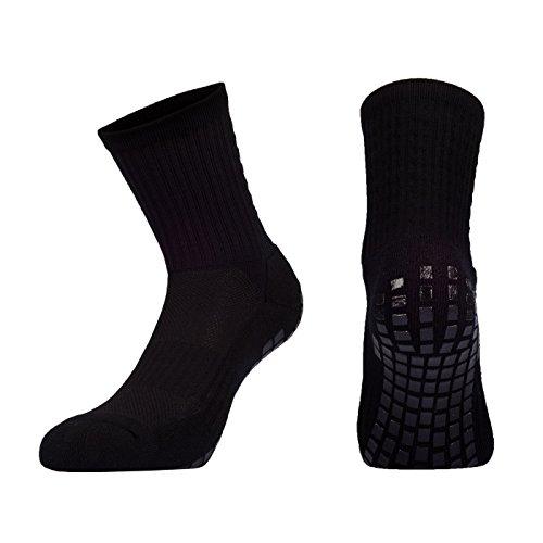 Snocks  Herren Tru Socken (Anti-Rutsch Fußball Socken Mit Noppen An der Sohle), 1x Schwarz, 38 - 46