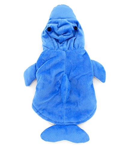Warm Fleece Dolphin Kostüm Halloween Kleid bis für kleine Hunde/Katzen, klein, blau (Katze Halloween Kostüme Amazon)