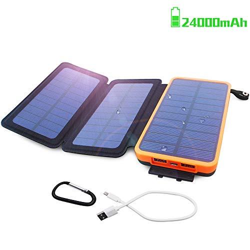 Powerbank Solar Externer Akku 24000mAh Solar Ladegerät mit 3 Solar Panels Dual USB 2.1A, Notfall-Energie mit LED-Licht & Haken für iPhone...