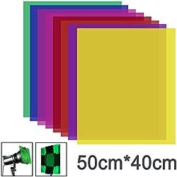 Neewer Lot de 8 Couleurs 40x50cm Filtre de Gel en Couleur, Film Plastique Transparent, Correction d'Eclairage pour Photo Flash Studio, LED Lumière Vidéo, DJ Lampes, etc.