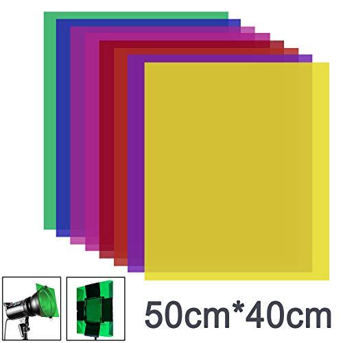 Neewer 8 Stück Gel Farbfilter mit 8 Farben -16x20 Zoll transparenter Farbfilm Kunststoffplatten, Korrektur-Gel-Lichtfilter für Fotostudio-Blitzlicht,LED-Videolicht,DJ-Licht usw.