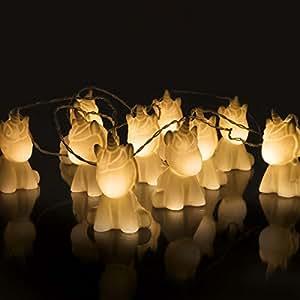 Niedliche Einhorn Lichterkette, 10 LEDs warmweiß, batteriebetrieben, 2m