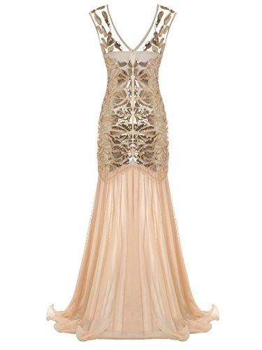 FAIRY COUPLE 1920 Bodenlänge V-Rücken Pailletten verschönert Abschlussball Abend Kleid D20S004 Champagner Gold