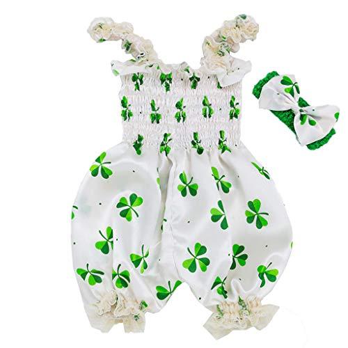 YUAN Babykleidung,Kleinkind-Baby-Mädchen St. Patrick's Day ärmellose Strampler-Overall-Kleidung,Neugeborene Kleinkind Junge Kleider Set Hülse Kapuzenpullover Tops Hose ()