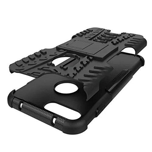 """iPhone 7 plus 5,5 Case schwarz, iPhone 7 Plus-Hülle 4 Ecken, Valenth Tough Dual Layer 2 in 1 Schroffe Gummi Hybrid Hard / Soft-Tropfen Stoßfestes Schutzhülle mit Ständer für iPhone 7 plus 5,5 """" Co1"""